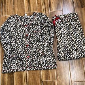 Adonna Woman Animal Print Flannel Pajama Set